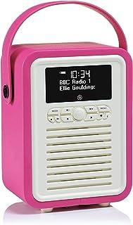 VQ Retro Mini DAB+ Digital Radio with FM, Bluetooth & Alarm Clock, Hot Pink, (VQ-Mini-PK/AUS)