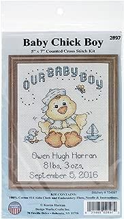 Tobin DW2897 14 Count Our Baby Boy Chick Birth Record Mini Counted Cross Stitch Ki, 5