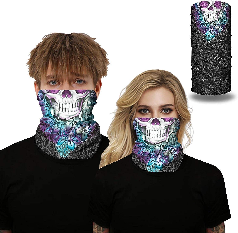 Unisex 3D Printed Seamless Multifunctional Neck Gaiter Headwear for Dust Wind Sun Protection Tube Scarf Bandanas