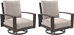 Signature Design by Ashley - Cordova Reef Outdoor Lounge Chair with Cushions - Set of 2 - Aluminum Frame - Dark Brown/Beige