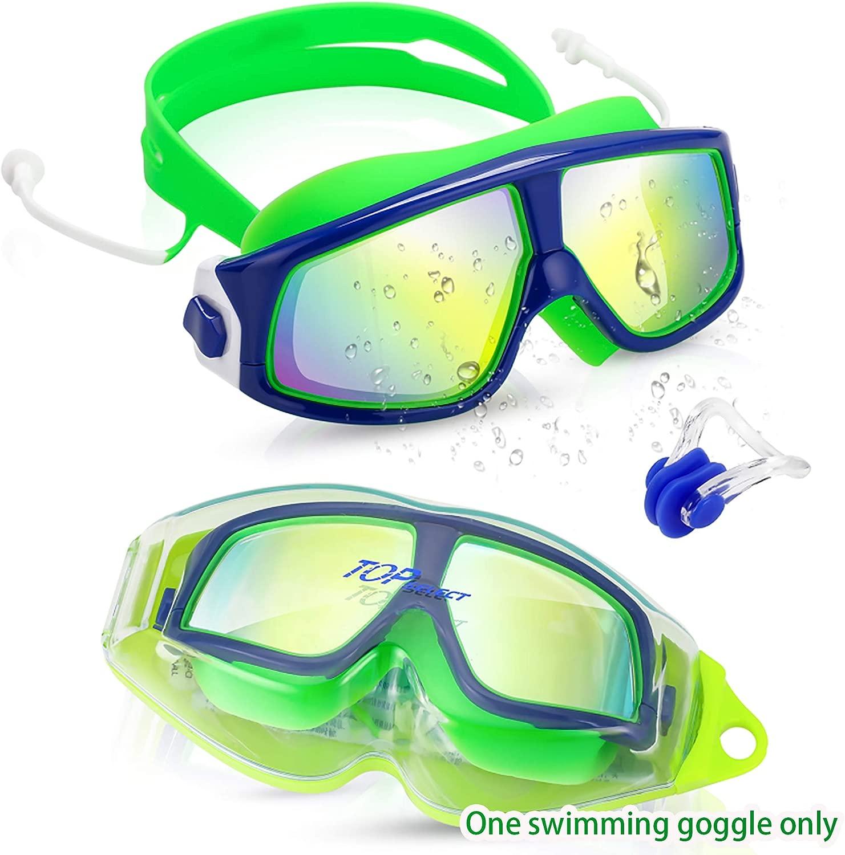 Topselect キッズ水泳ゴーグル 子供用 (3~3歳) 防水水泳ゴーグル クリアな視界 曇り止め UV保護 漏れない ソフトシリコンフレーム ケースと耳栓付きストラップ 子供用 男の子 女の子用