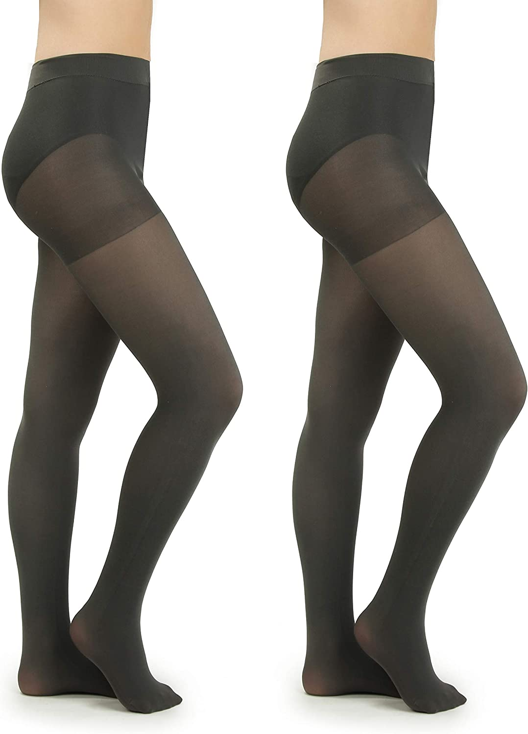 Silky Toes Women's Microfiber Opaque Tights with Control Top 80 Denier- 2 Pairs