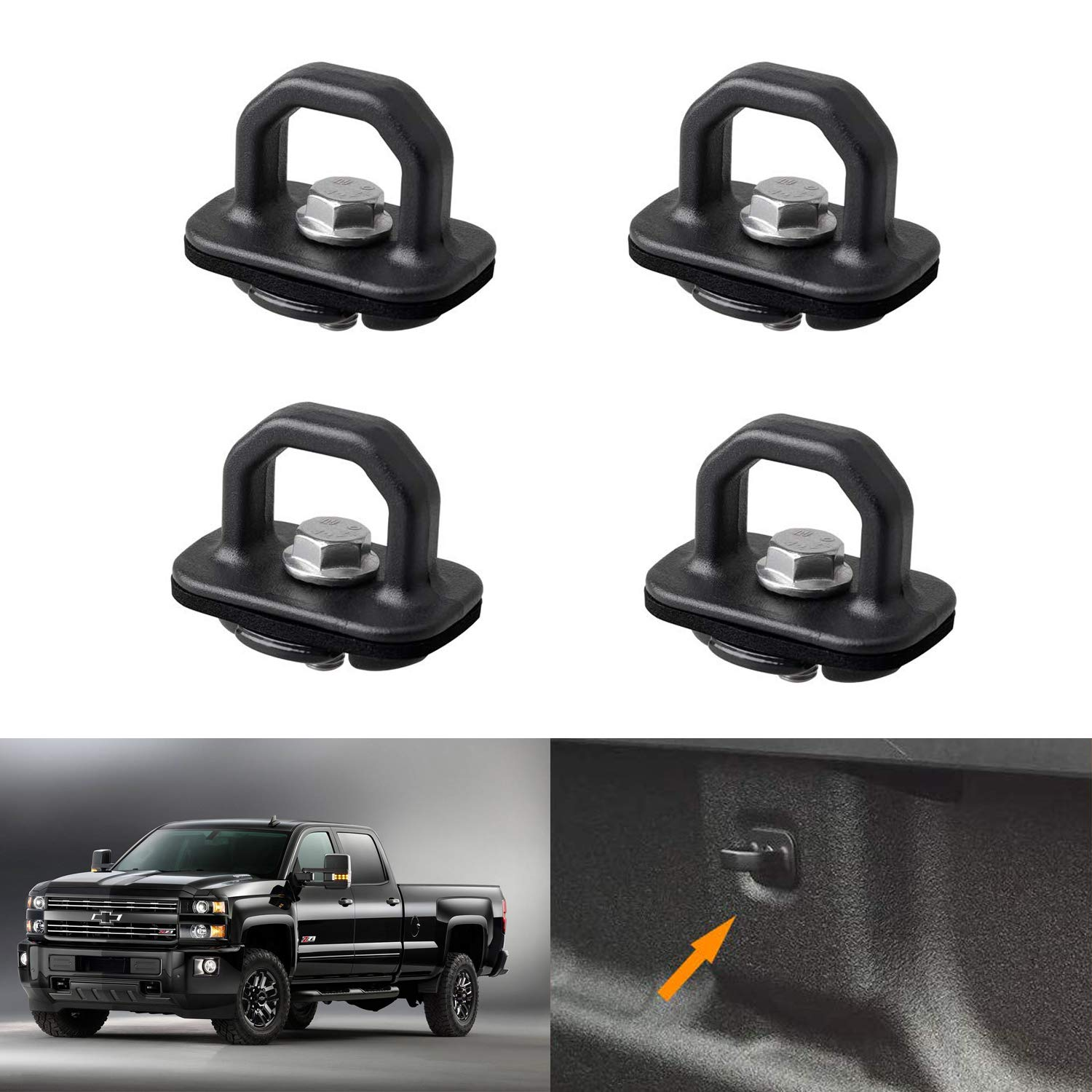 Bully WTD-823 Truck Bed Accessories Stainless Steel Cargo Tie-down Clamps Pair Dodge RAM Adjustable Rubber Mount To Fit Most Bed Rails Toyota Trucks  and Others Ford GMC Fits Most Chevy
