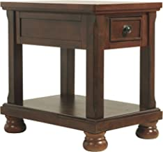 Signature Design by Ashley - Porter chairside Accent Table, Rustic Brown