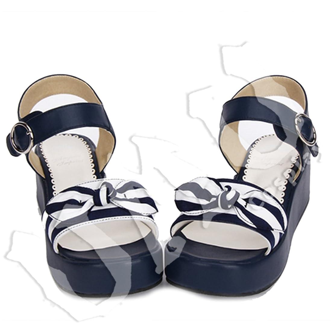 後者夕食を食べるラリーベルモント【UMU】 LOLITA ロリータ 紺色 夏 縞 風 靴 ブーツ ブーティ オーダーメイド(ヒール高、材質、靴色は変更可能!) (足25.5cm)