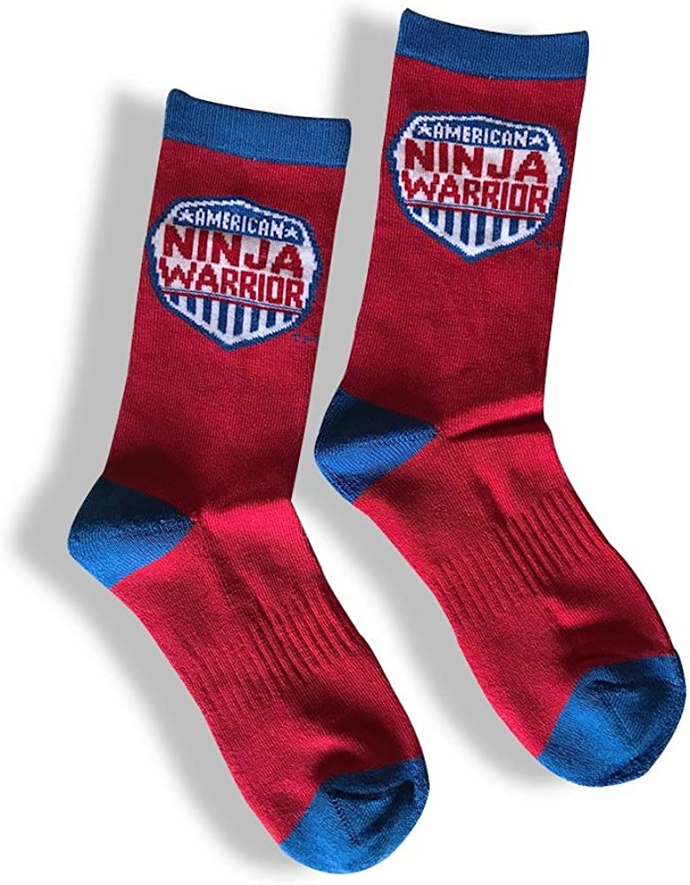 American Ninja Warrior Youth Athletic Crew Socks - Red and Blue, Kids 5-8