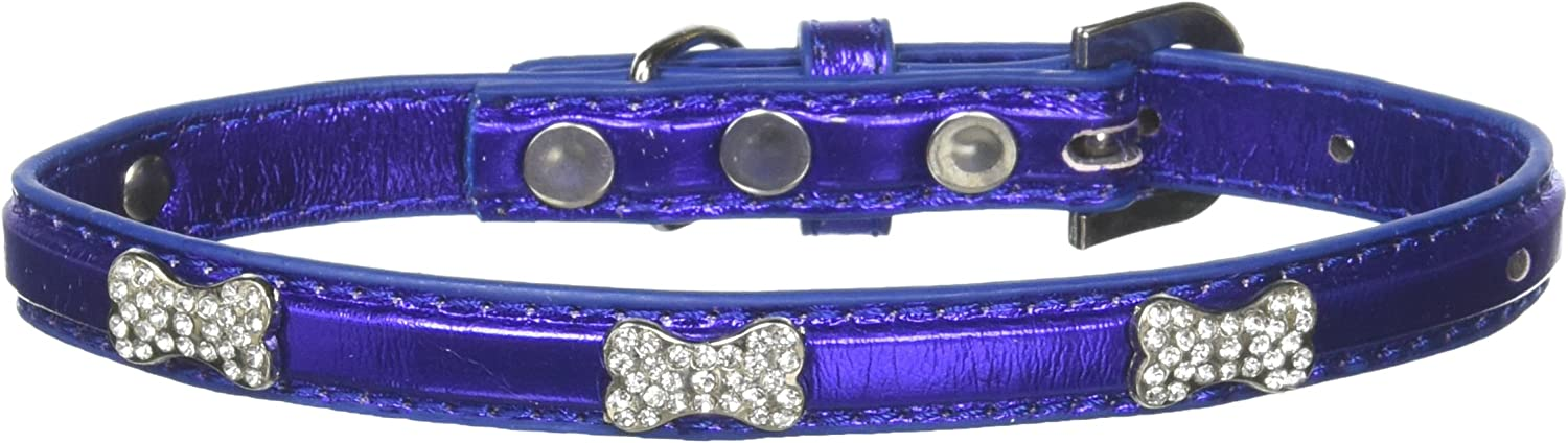 Mirage Pet Products Metallic Crystal Bone Collars, bluee, Medium