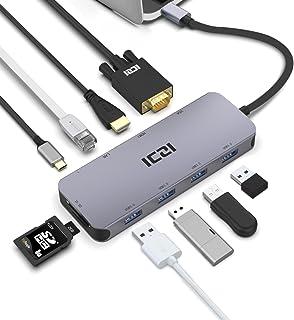 USB C موزع ICZI 10 في 1 USB C HDMI محول 4K1080P VGA PD 100W 1Gbps Ethernet SD/TF 4 USB 3. 0 لأجهزة MacBook Pro/Air M1, Sur...