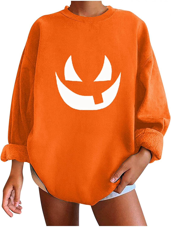 HUIYEA Halloween Sweatshirts for Women: Womens Funny Ghost Print Tunic Tops Tshirts Long Sleeve Pullover Lightweight Blouse