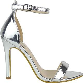 Altos Zapatos De Para esTacones Plateados Tacón Amazon IHD2E9