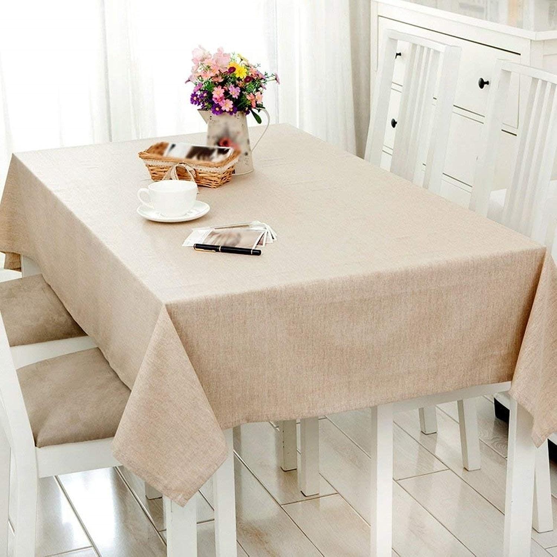 Nappe De Cuisine Imperméable Tissu Nappe Lin Simple Solide Couleur Lin Table De Réunion Tissu Table Basse Couverture Tissu Confortable Nappe Pique Nique (Couleur   130  200CM)