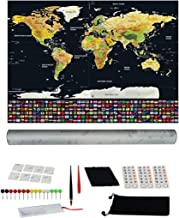 Scratch Off Map Of The World Poster - Travel World Map with States - Maps Accessories, Large 32.5 x 23.5 Gold and Black, Scratch to Reveal Colors Bonus Flags, Stickers, Pins, Hanging Supplies and More