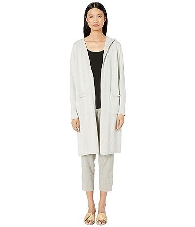 Eileen Fisher Eruvian Organic Cotton Knit Hooded Long Cardigan (Pearl) Women