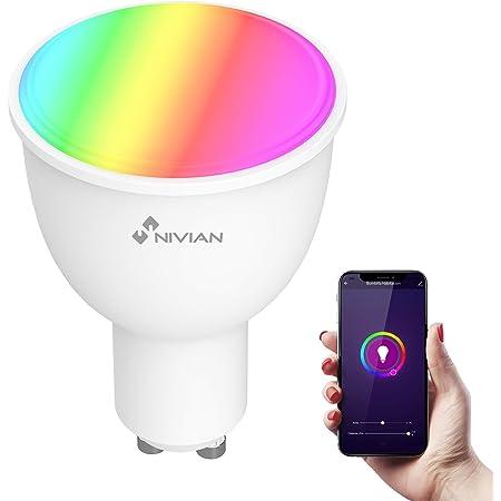 Nivian bombilla inteligente-Wifi 2.4Ghz–Colores RGB ajustable–Casquillo GU10–Consumo 4.5W, 380 lúmenes,hasta 2700K (lux cálida)-Compatible con Amazon Alexa y Google Home–Control remoto con APP Tuya