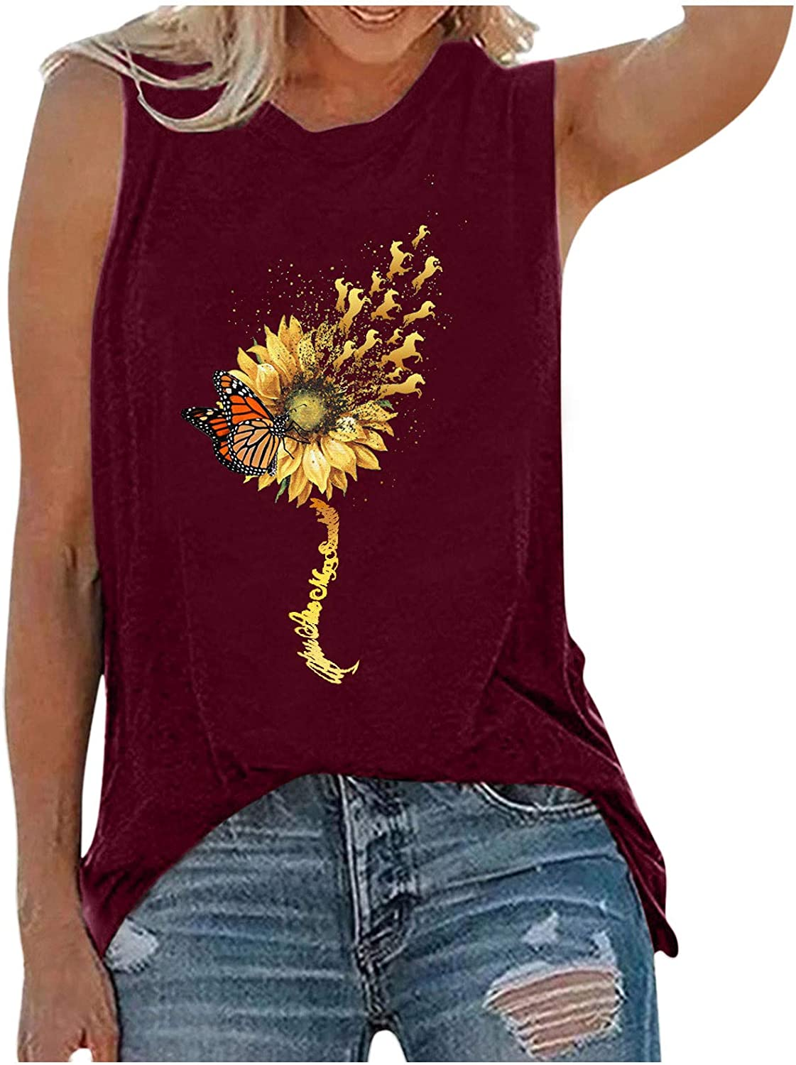 Graphic Tank Tops for Women,Womens Sunflower Cute Printed Vest Tshirt Sleeveless Workout Blouse Casual Summer Tank Top Tunic Tee