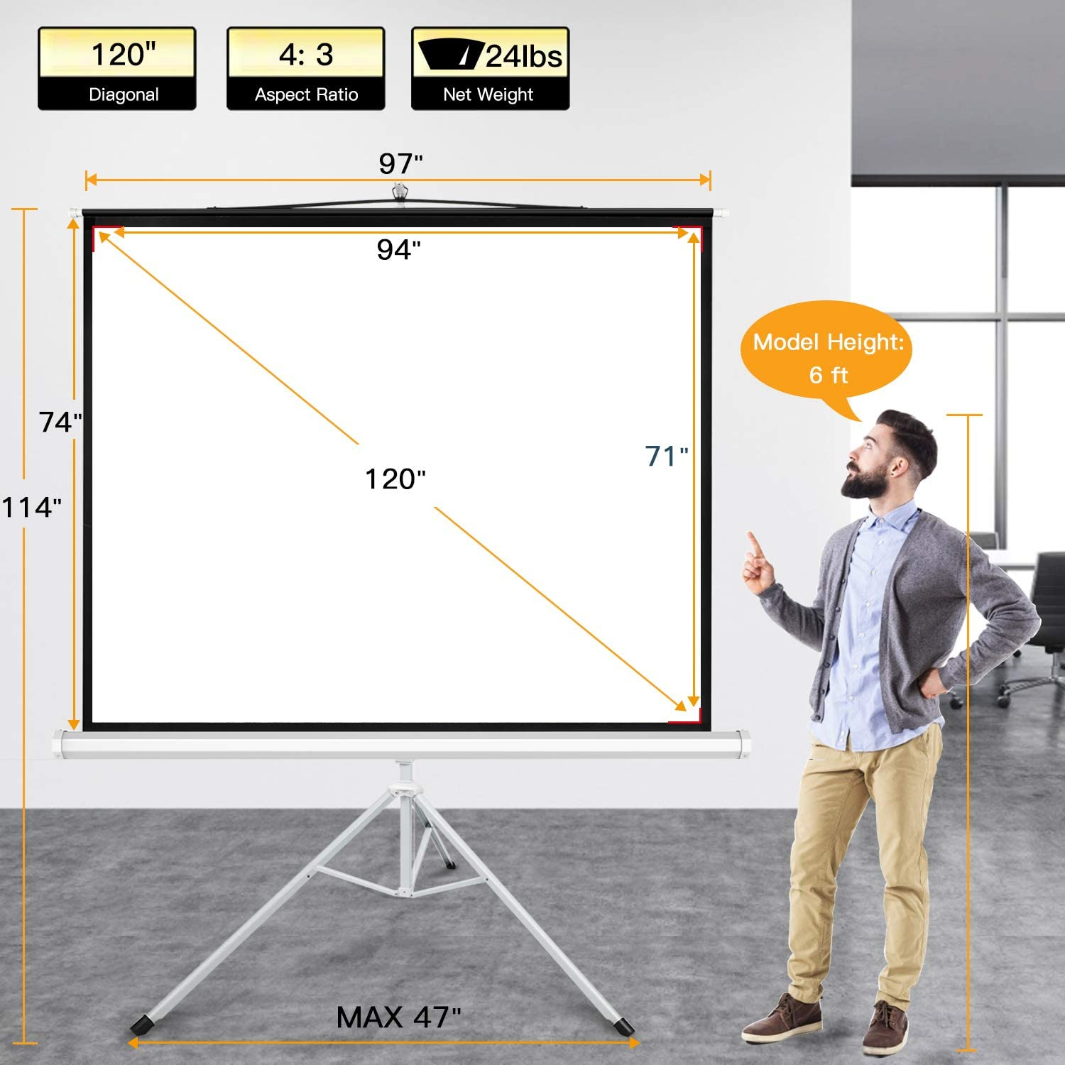 Amazon.com PERLESMITH Projector Screen with Stand 20 Inch 20K ...