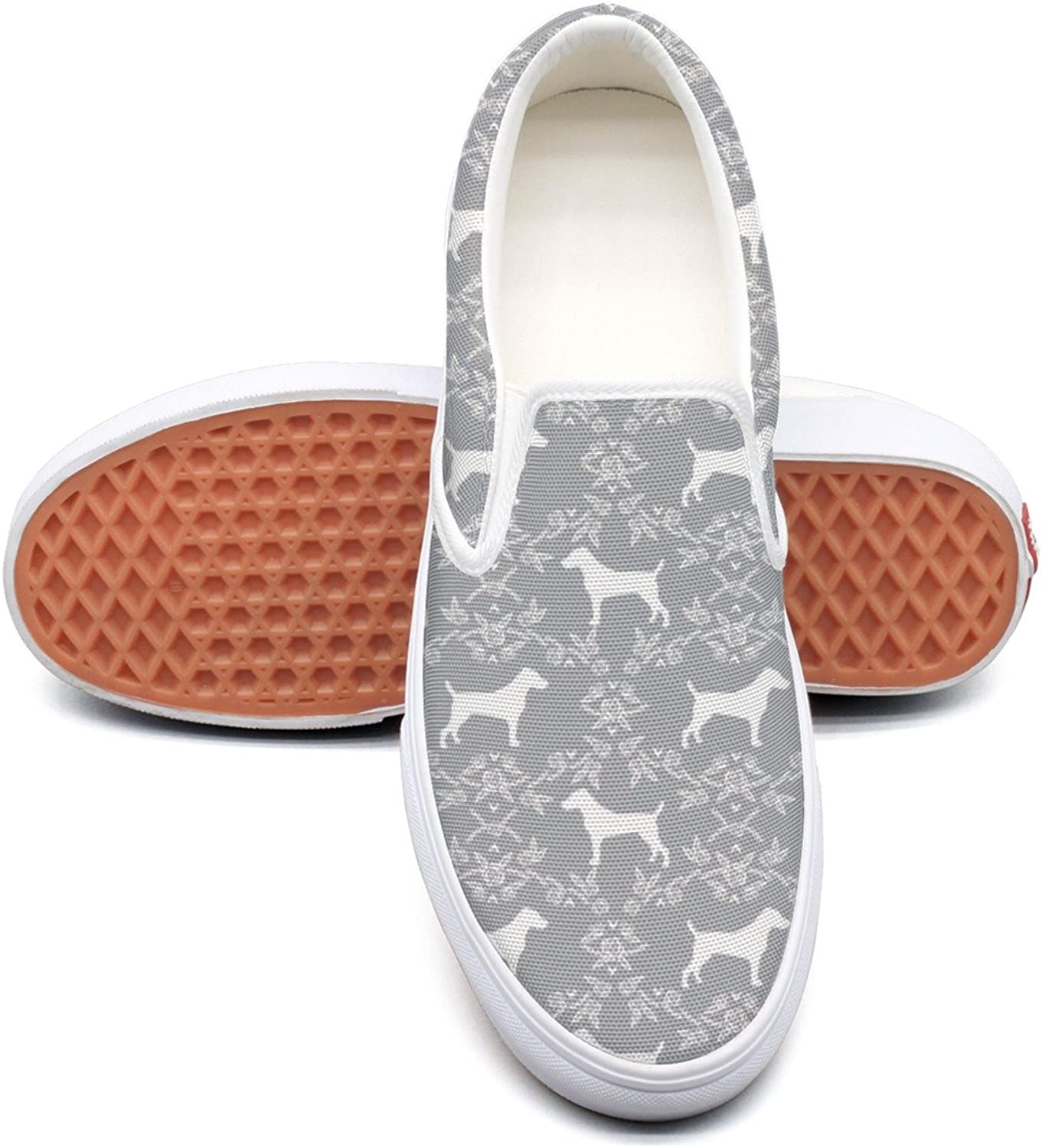 SEERTED Terrier Dog Silhouette Floral Canvas Slip On shoes for Women