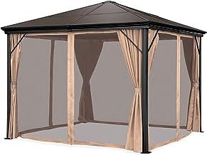 Best Choice Products 10x10ft Outdoor Aluminum Frame Hardtop Gazebo Canopy for Backyard, Garden w/Side Shade Curtains, Nett...