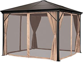 Best Choice Products 10x10-foot Outdoor Aluminum Frame Hardtop Gazebo Canopy for Backyard, Garden w/Side Shade Curtains, Mosquito Bug Nets, Brown