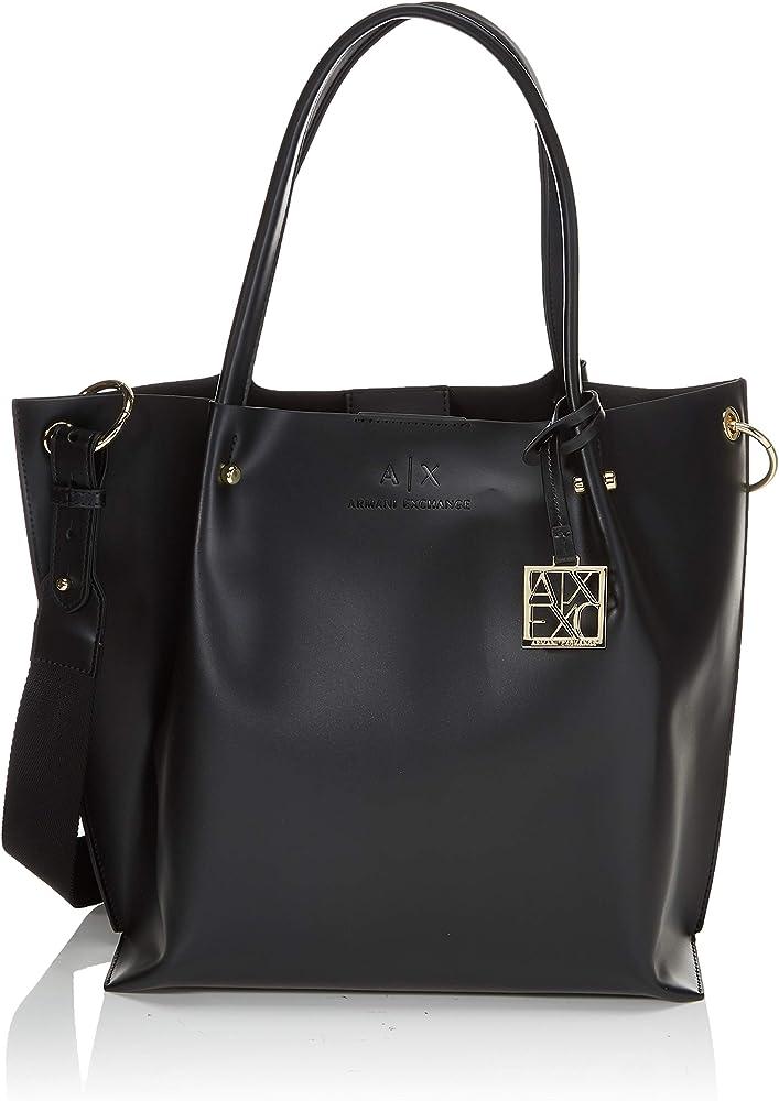 Armani exchange shopper, borsa da donna, in ecopelle e dettagli in metallo dorato 942685CC79500020