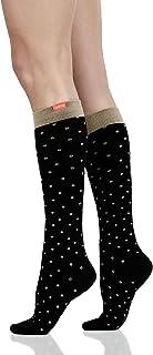 VIM & VIGR 20-30 mmHg Medical Grade Compression Socks for Women & Men (Black & Tan Petite Dots Cotton, Small/Medium Wide C...