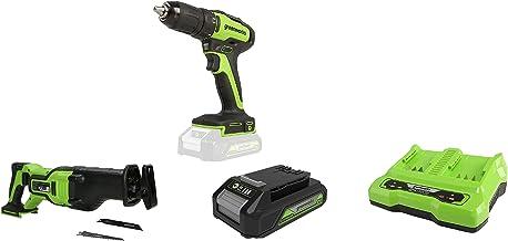 Greenworks Tools Taladro atornillador inalámbrico GD24DD35 + Batería sierra de sable GD24RS, 24V Li-Ion + Batería G24B2 2ª generación + Batería de doble ranura Cargador universal G24X2C