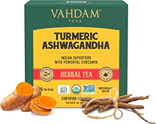 VAHDAM, Organic Turmeric + Ashwagandha SUPERFOOD Herbal Tea, (30 Tea Bags) | USDA Certified India's Ancient Medicine Blend...