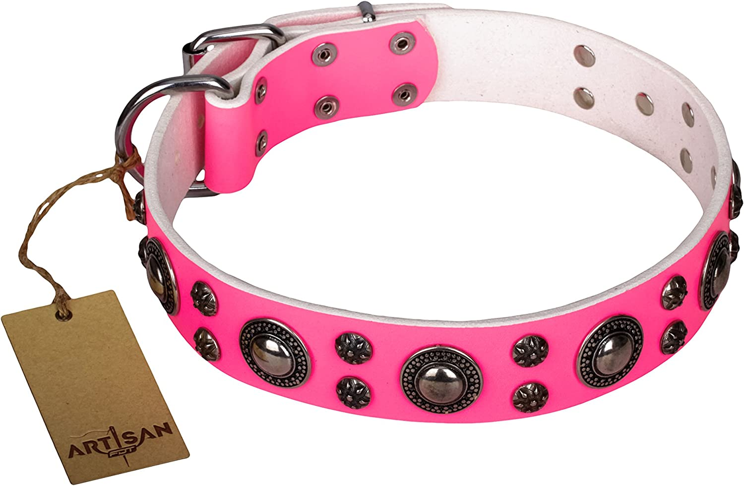 36 inch Pink Leather Dog Collar with Chrome Plated Decor   Round & Spicy  Handcrafted by Artisan