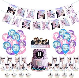 BTS Birthday Party Supplies, Hilloly 36 Pcs BTS Conjunto de Decoración de cumpleaños, BTS Birthday Decorations Set, Kpop B...