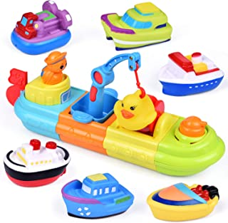 FunLittleToy Baby Bath Toys, 7 PCs Toy Boats Include One Big Wind Up Bath Boat and 6 Bath Squirters Toy Boats, Birthday Gifts for Boys & Girls