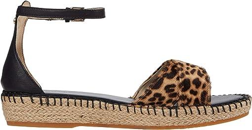 Mini Cheetah Print Haircalf/Black Leather/Tonal Hand Stitch