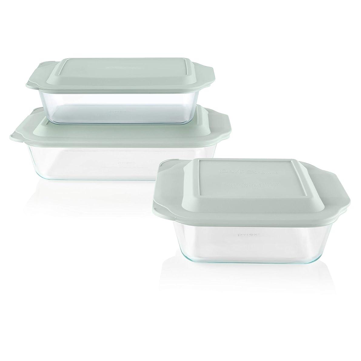 Pyrex Deep Baking Dish Set (6-piece, BPA-free Lids)