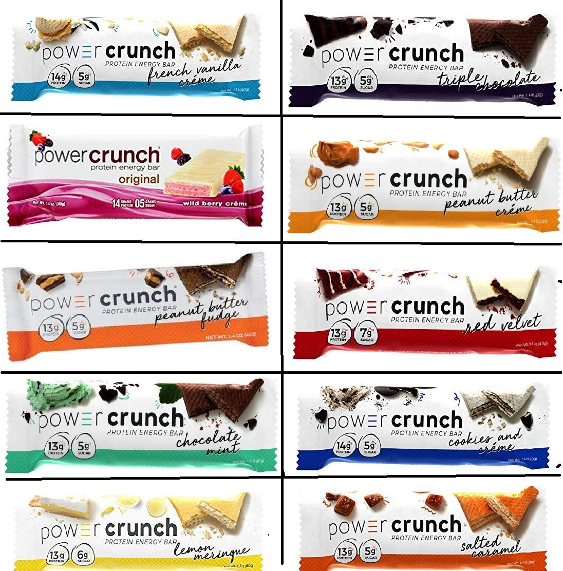 Power Crunch Protein free Energy Bar 1.4-Ounce Los Angeles Mall Pack Orignal Variety