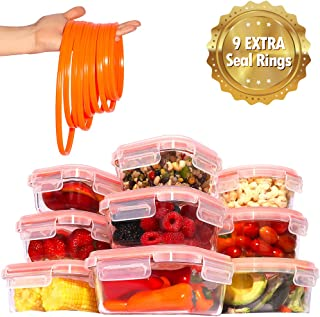 Jina Home Glass Food Storage Containers [18 pcs ] | Leakproof and Airtight Glass Tupperware Set | Meal Prep Containers with 9 Extra Replaceable Silicon Rings | BPA Free & FDA Approved
