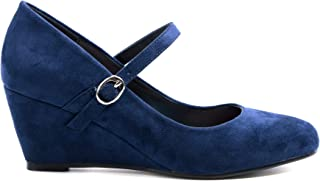Greatonu Women's Round Toe Wedge Heel with Strap Dress Shoes