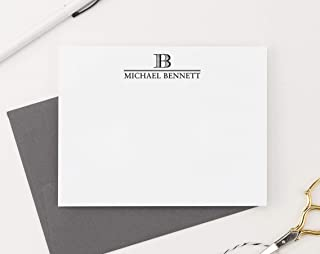 Single Letter Initial Monogram Stationary Set FLAT NOTE CARDS, Personalized Monogram Stationery Set, Professional Monogram Stationery, Your Choice of Colors and Quantity