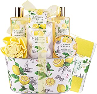Bath& Shower Spa Basket Gift Set, Lemon Citrus Spa Gift Basket Kits for Women, Good Gift Idea for Her, Birthday,Wedding & ...