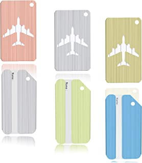 Aluminum Luggage & Suitcase Tags Travel ID Identification Labels Set For Bags -6 pack