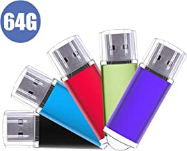 USB Stick, 5 Pack 64GB Memory Flash Drive U Disks Stick Pen 2.0 Data Storage Thumb Drives (Mixed Color)