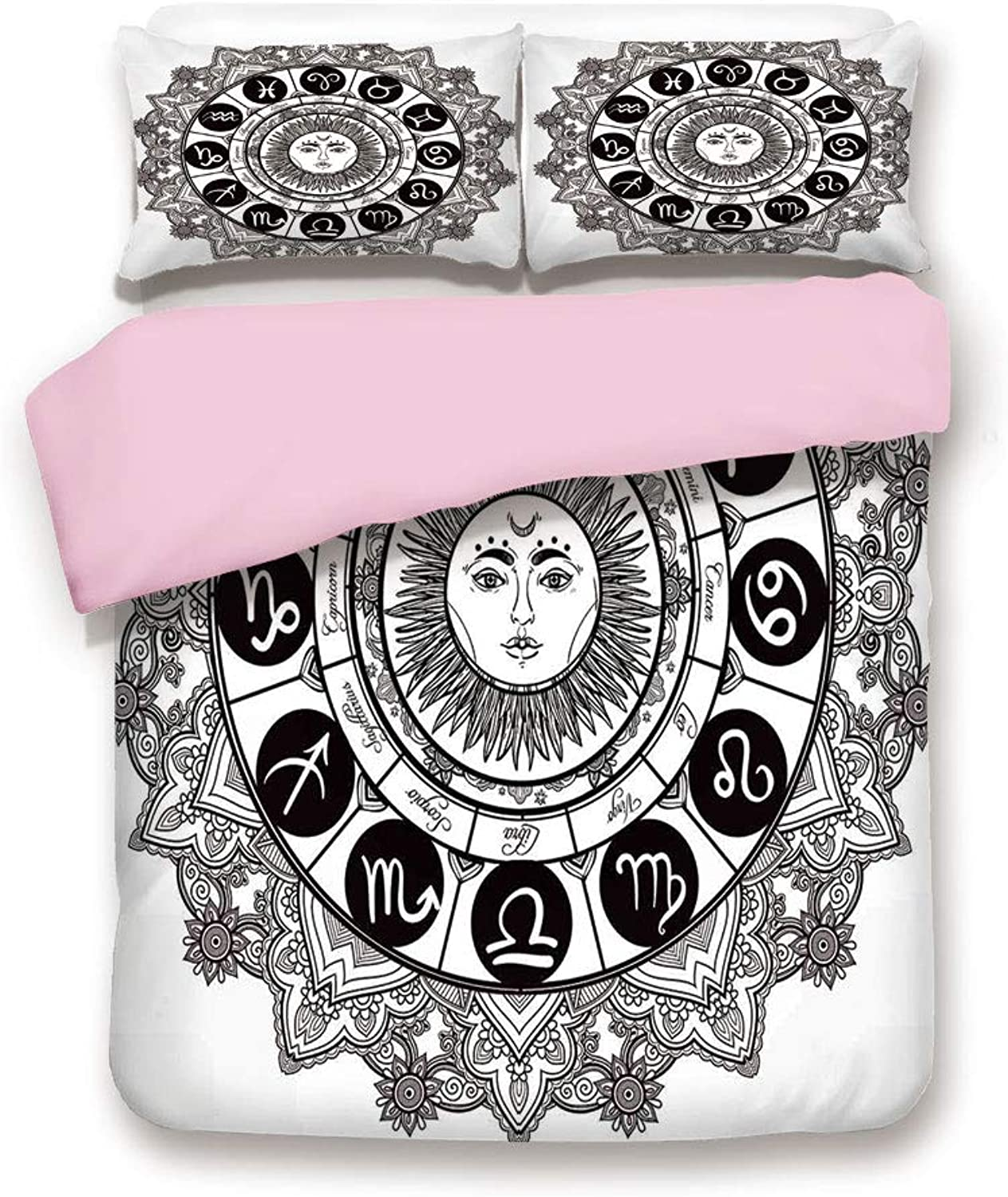 Pink Duvet Cover Set,Full Size,Astrology Houses in Mandala Pattern with Sun in Middle Ethnic Kitsch Artwork,Decorative 3 Piece Bedding Set with 2 Pillow Sham,Best Gift for Girls Women,Black Grey