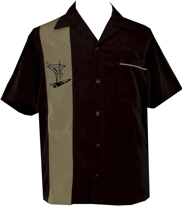 BeRetro Cigar Embroidered Retro Lounge Camp Men's Shirt Santiago