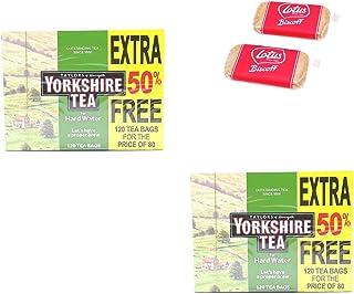 Yorkshire Hard Water 120 Zakken Pak van 2 - Hoogwaardige traditionele thee - met 2 x gratis Lotus gekarameliseerde koekjes...