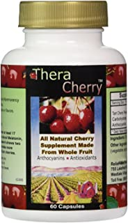 TheraCherry All Natural Montmorency Tart Cherry Antioxidant Supplement, 60 Capsules