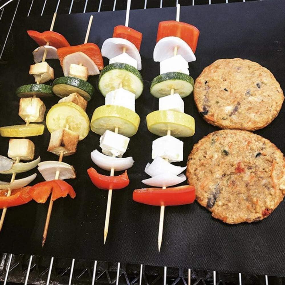 ERTY Magic Oven Liner BBQ Oven Grill Mat Resistant À La Chaleur Antiadhésive BBQ Grill Sheet Four Pan Liners Baking Pad Mat for Home Outdoor BBQ6pcs Black 1PC Noir