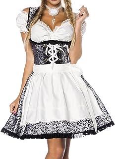 Unbekannt Dirndl Kleid Kostüm mit Bluse und Schürze aus Jacquard Stoff und Spitze Spitzenstoff Oktoberfest Dirndl Silber/weiß/schwarz Oberteil dunkel