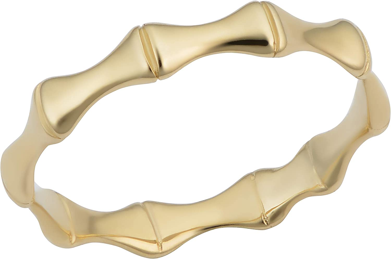 Kooljewelry 14k Yellow Gold 3.4 mm Bamboo Ring