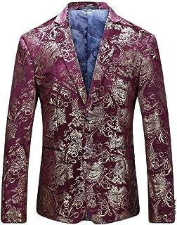 67252d007ce Men s Dress Floral Suit Notched Lapel Slim Fit Stylish Blazer Dress Suit