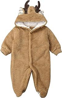 JBEELATE Newborn Baby Girl Boy Elk Footie Warm Fuzzy Snowsuit Fleece Hooded Romper Jumpsuit Winter Jacket Outerwear Coat
