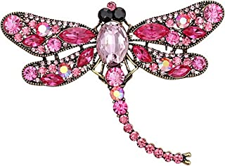 Ailer Pink Wing Dragonfly Brooch Pin Created Crystal Rhinestone Dragonfly Brooches for Women Jewelry Wedding Bouquet