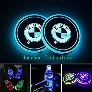 Honghou Technology for BMW LED car Cup Holder lamp, car Logo Coaster with 7 Colors, Replaceable USB Charging pad, Ambient Light lamp with Glowing Coaster Interior(2pcs)
